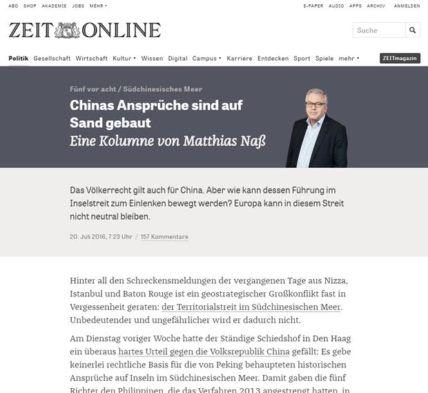 Periodico aleman critica postura de China despues del veredicto del PCA hinh anh 1