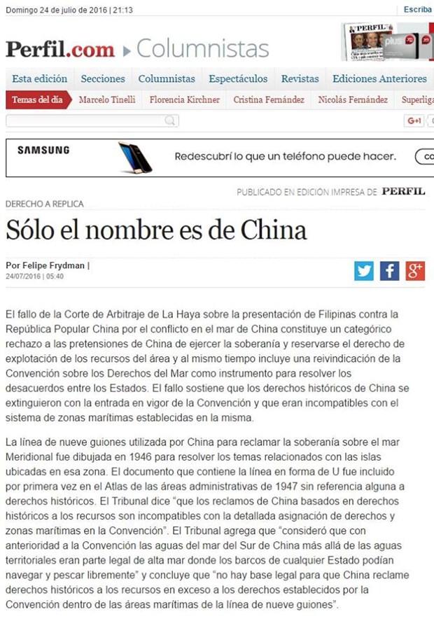 Exembajador argentino en Tailandia respalda fallo de PCA hinh anh 1