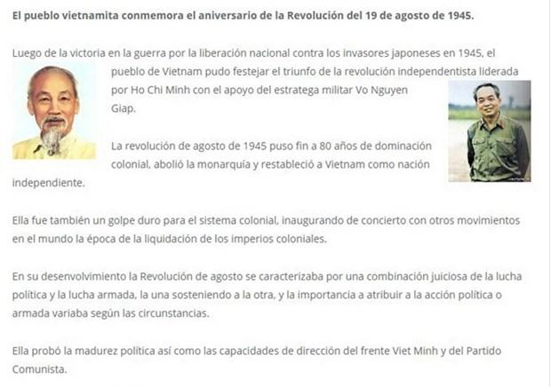 Prensa argentina elogia la Revolucion de Agosto hinh anh 1