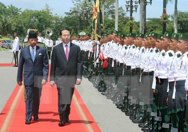 Presidente de Vietnam dialoga con sultan de Brunei hinh anh 1