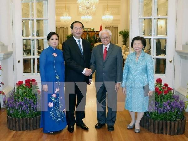 Presidente de Vietnam dialoga con lideres de Singapur hinh anh 1