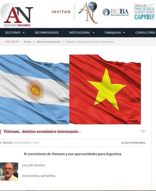 Prensa argentina destaca exitos economicos vietnamitas hinh anh 1
