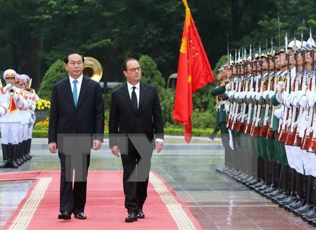 Presidente de Vietnam dialoga con Francois Hollande hinh anh 1