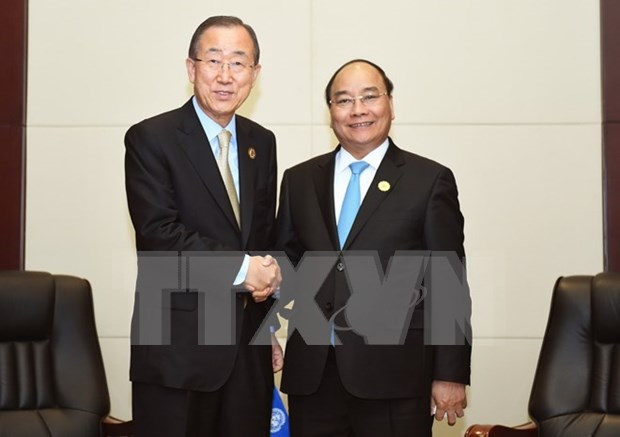 Primer ministro de Vietnam se reune con Ban Ki-moon y Malcolm Turnbull hinh anh 1