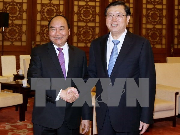 Premier de Vietnam se reune con presidente de Asamblea Popular Nacional de China hinh anh 1