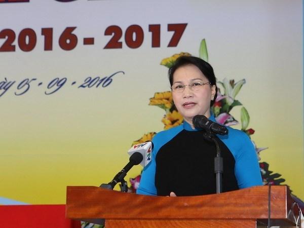 Presidenta de Parlamento de Vietnam efectua visita a Laos hinh anh 1