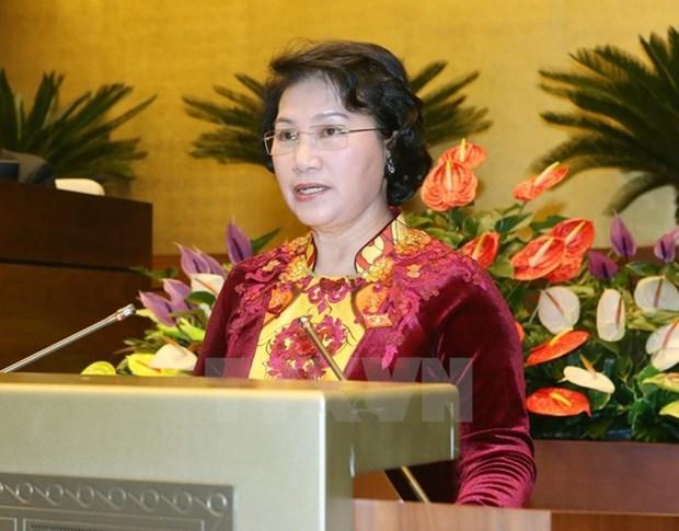 Presidenta de Parlamento de Vietnam visita Camboya hinh anh 1