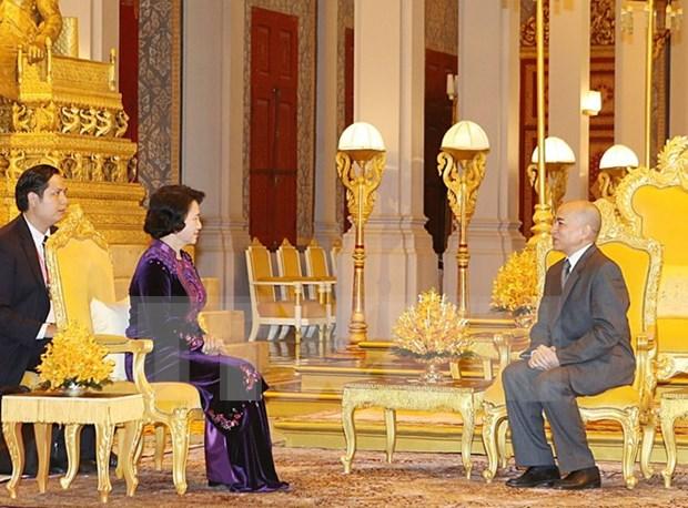 Presidenta de parlamento vietnamita se entrevista con rey camboyano hinh anh 1