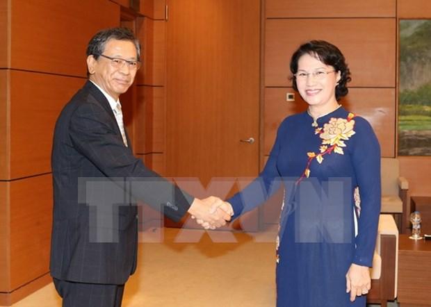 Presidenta del Parlamento de Vietnam recibe a saliente embajador de Japon hinh anh 1