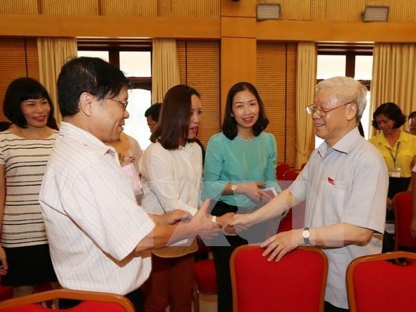 Secretario general del PCV dialoga con votantes de Hanoi hinh anh 1