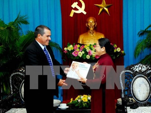Lideres de Ciudad Ho Chi Minh recibe a delegacion de Prensa Latina hinh anh 1