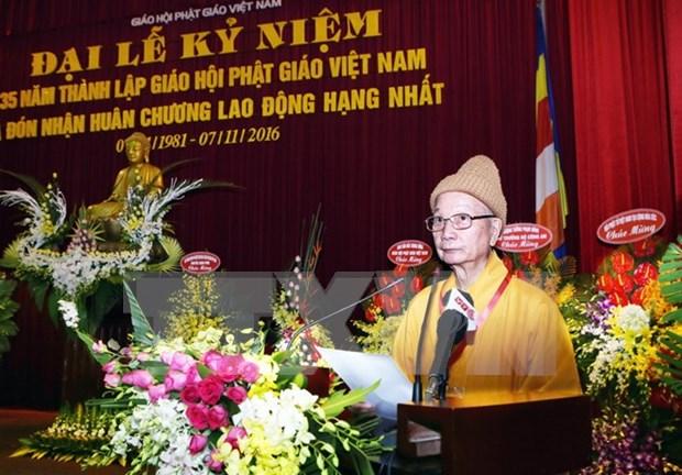 Sangha Budista de Vietnam celebra aniversario 35 de su fundacion hinh anh 1
