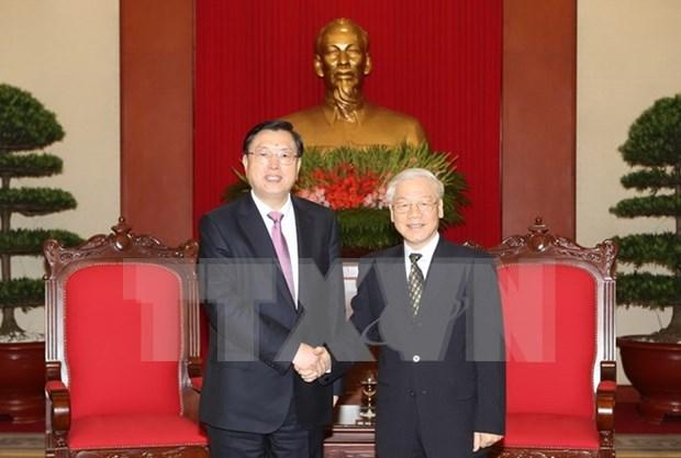 Lider partidista recibe a presidente de la Asamblea Popular Nacional de China hinh anh 1