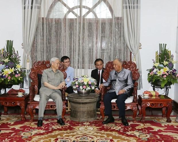 Lider partidista vietnamita continua actividades en Laos hinh anh 1