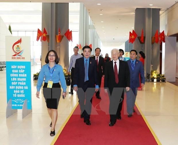 [Foto] Inauguran en Hanoi duodecimo Congreso Sindical de Vietnam hinh anh 1