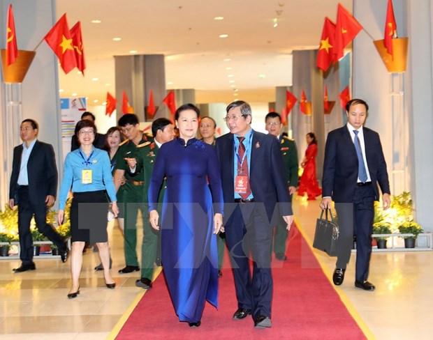 [Foto] Inauguran en Hanoi duodecimo Congreso Sindical de Vietnam hinh anh 2