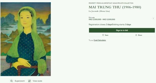 Retrato del difunto pintor vietnamita se subastara en Hong Kong hinh anh 1