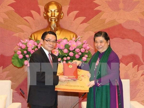 Recibe vicepresidenta parlamentaria a delegacion de amistad laosiana hinh anh 1