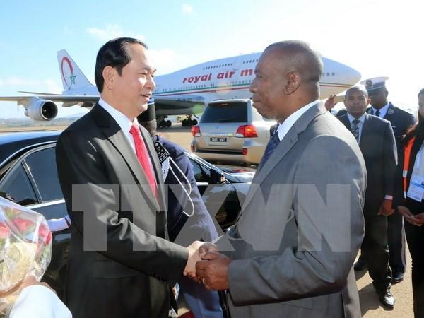 Presidente de Vietnam llega a Madagascar para asistir a Cumbre de Francofonia hinh anh 1
