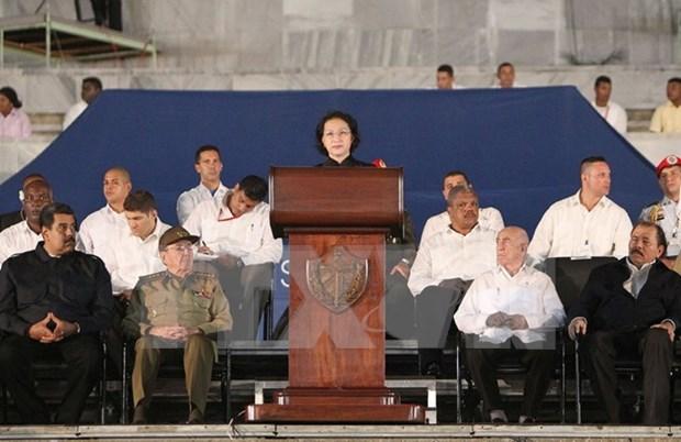 Lider parlamentaria de Vietnam asiste a acto en homenaje postumo a Fidel hinh anh 1