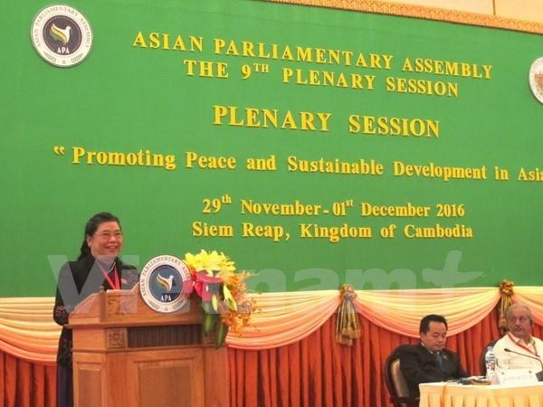 Clausuran noveno plenario de Asamblea Parlamentaria de Asia hinh anh 1