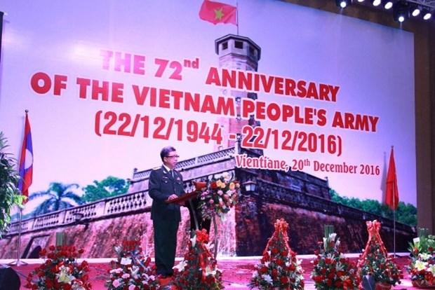 Celebran en Laos aniversario del Ejercito Popular de Vietnam hinh anh 1