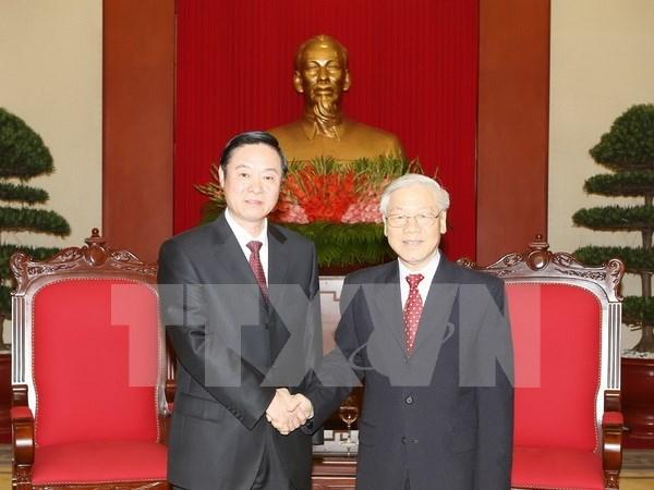 Secretario general del PCV recibe a delegacion partidista de China hinh anh 1