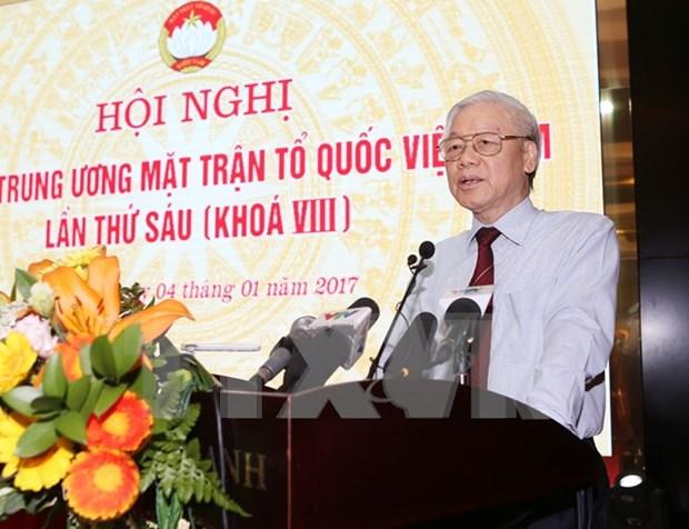 Lider partidista pide al Frente de la Patria de Vietnam fortalecer unidad nacional hinh anh 1