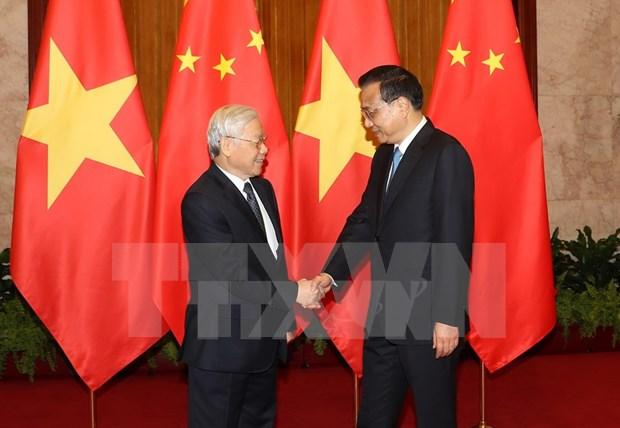 Lider partidista de Vietnam se reune con premier de China hinh anh 1