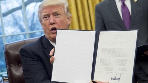 Donald Trump firma salida de Estados Unidos del TPP hinh anh 1