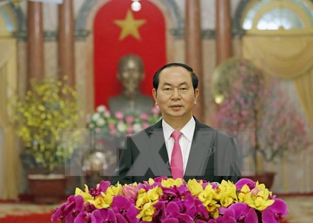Presidente vietnamita felicita al pueblo en ocasion del Ano Nuevo Lunar hinh anh 1