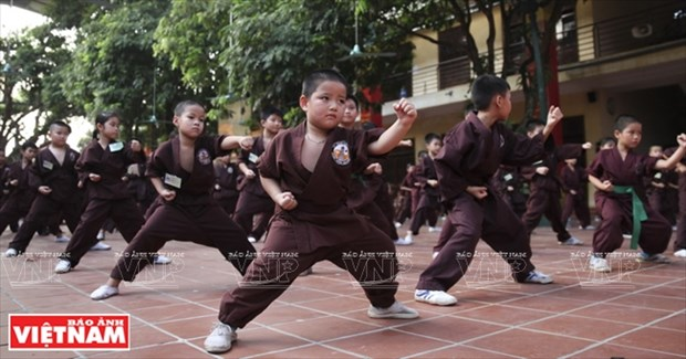 Clase de artes marciales en la pagoda Bang A hinh anh 1