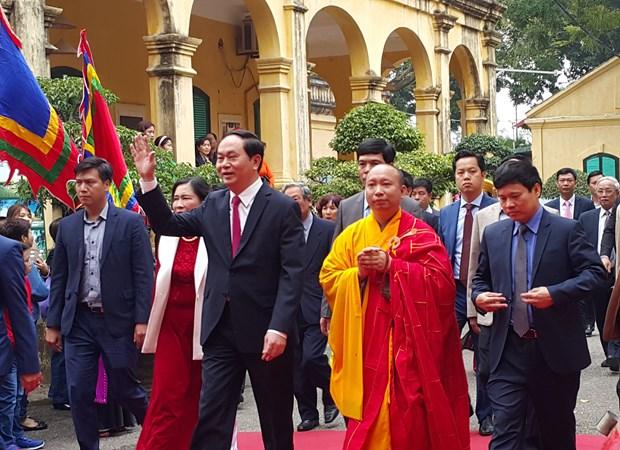 Presidente asiste a ceremonia tradicional en ciudadela imperial Thang Long hinh anh 1
