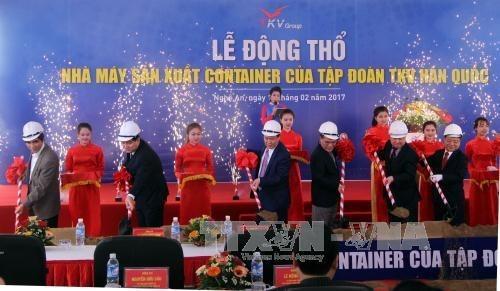Empresa sudcoreana inicia construccion de fabrica de contenedores en Nghe An hinh anh 1