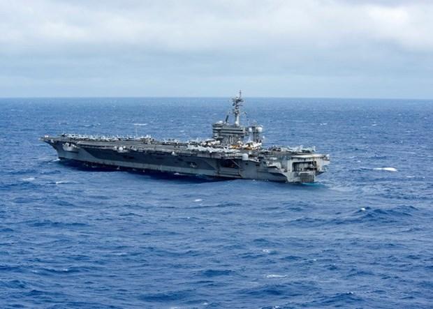 Portaaviones estadounidenses realizan patrullaje en Mar del Este hinh anh 1