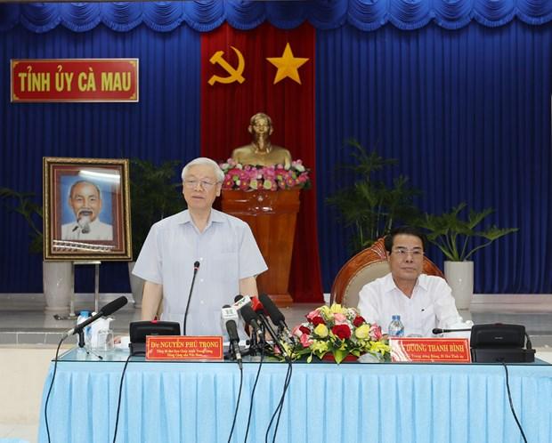 Lider partidista vietnamita pide a Ca Mau impulsar economia maritima hinh anh 1