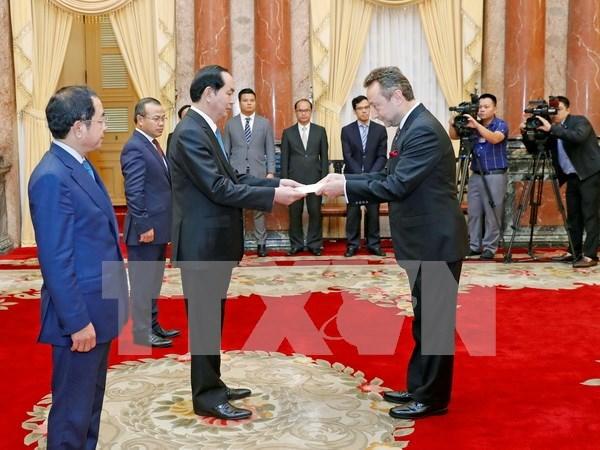 Presidente de Vietnam recibe a nuevos embajadores hinh anh 1