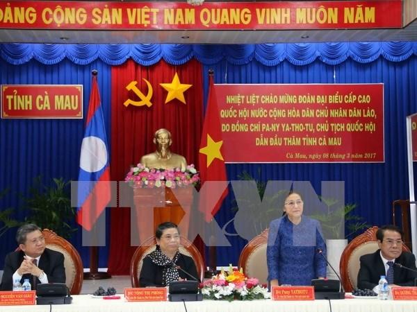Titular parlamentaria laosiana continua visita en Vietnam hinh anh 1