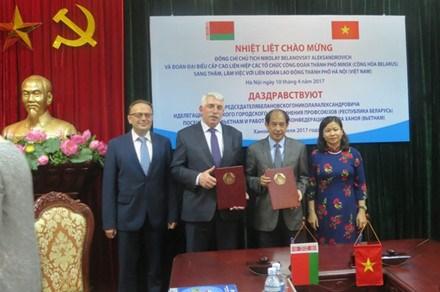 Sindicatos de Vietnam y Belarus robustecen lazos hinh anh 1
