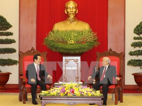Lideres vietnamitas reciben a presidente del Parlamento sudcoreano hinh anh 1
