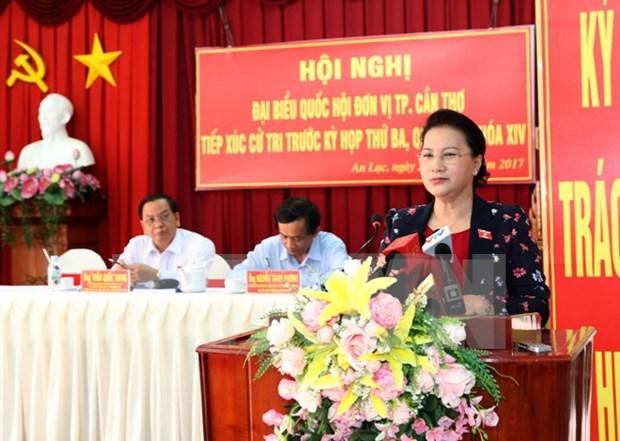 Presidenta de Parlamento vietnamita responde a preguntas de electores hinh anh 1