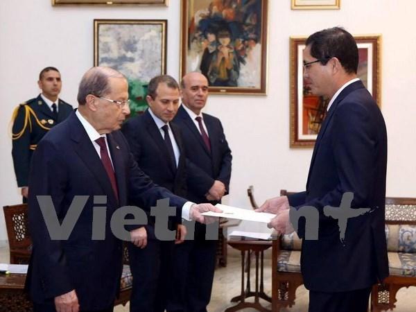 Presidente libanes desea fortalecer relaciones con Vietnam hinh anh 1