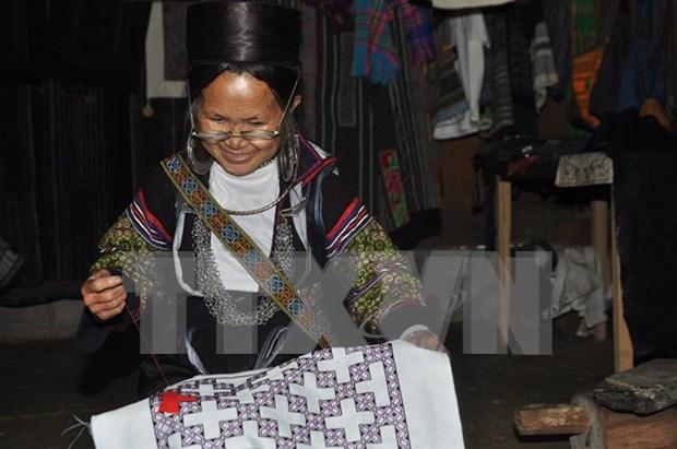 Minorias etnicas hacen fortuna con oficio tradicional de tejido de brocado hinh anh 1