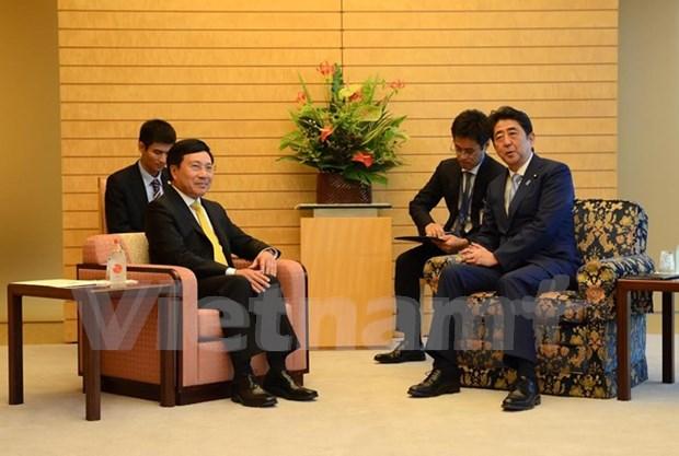 Vicepremier vietnamita dialoga con lideres de Japon hinh anh 1