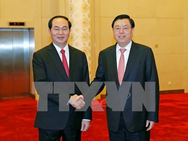 Presidente vietnamita dialoga con lideres chinos hinh anh 1