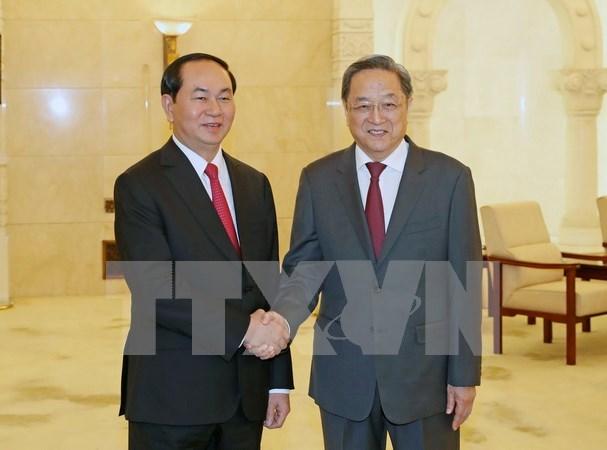 Presidente vietnamita dialoga con lideres chinos hinh anh 2