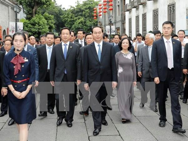 Presidente vietnamita recorre la provincia china de Fujian hinh anh 1