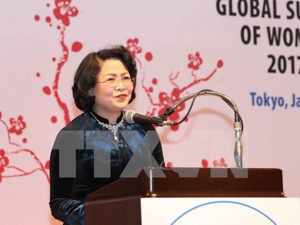 Vicepresidenta vietnamita interviene en clausura de Cumbre Mundial de Mujeres en Japon hinh anh 1