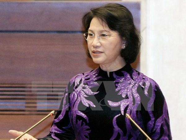 Presidenta del Parlamento de Vietnam recibe al dirigente legislativo de Myanmar hinh anh 1