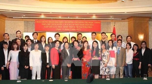 Vicepresidenta vietnamita se reune con estudiantes connacionales en Japon hinh anh 1